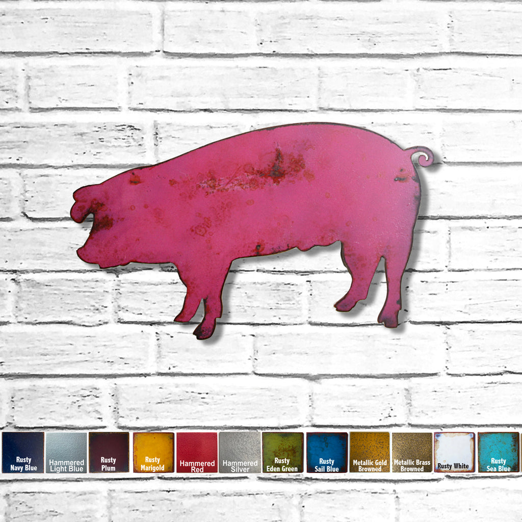 landrace pig shaped metal wall art home decor cutout handmade by Functional Sculpture llc