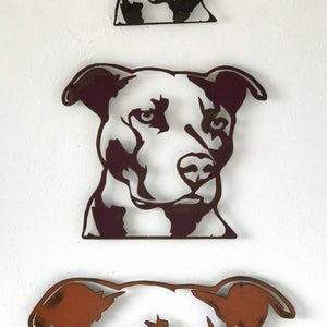"Pit Bull Bust - Metal Wall Art Home Decor - Handmade in the USA - Choose 11"", 17"" or 23"" Wide - Choose your Patina Color! FREE SHIPPING"