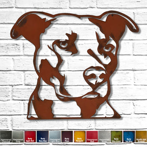 Pit bull bust dog shaped metal wall art home decor cutout handmade by Functional Sculpture llc