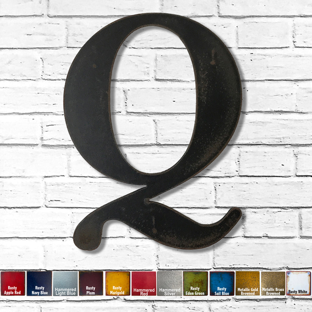 "Letter Q - Metal Wall Art Home Decor - Made in the USA - Choose 10"", 12"" or 16"" Tall - Choose your Patina Color! Choose any letter FREE SHIPPING"
