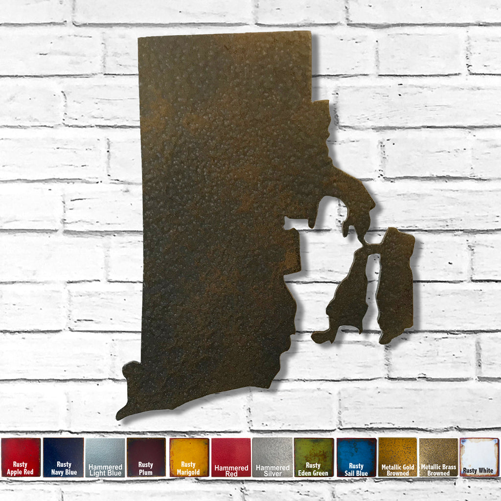 "Rhode Island - Metal Wall Art Home Decor - Handmade in the USA - Choose 10"", 16"" or 22"" Tall - Choose your Patina Color! Choose any state - FREE SHIP"