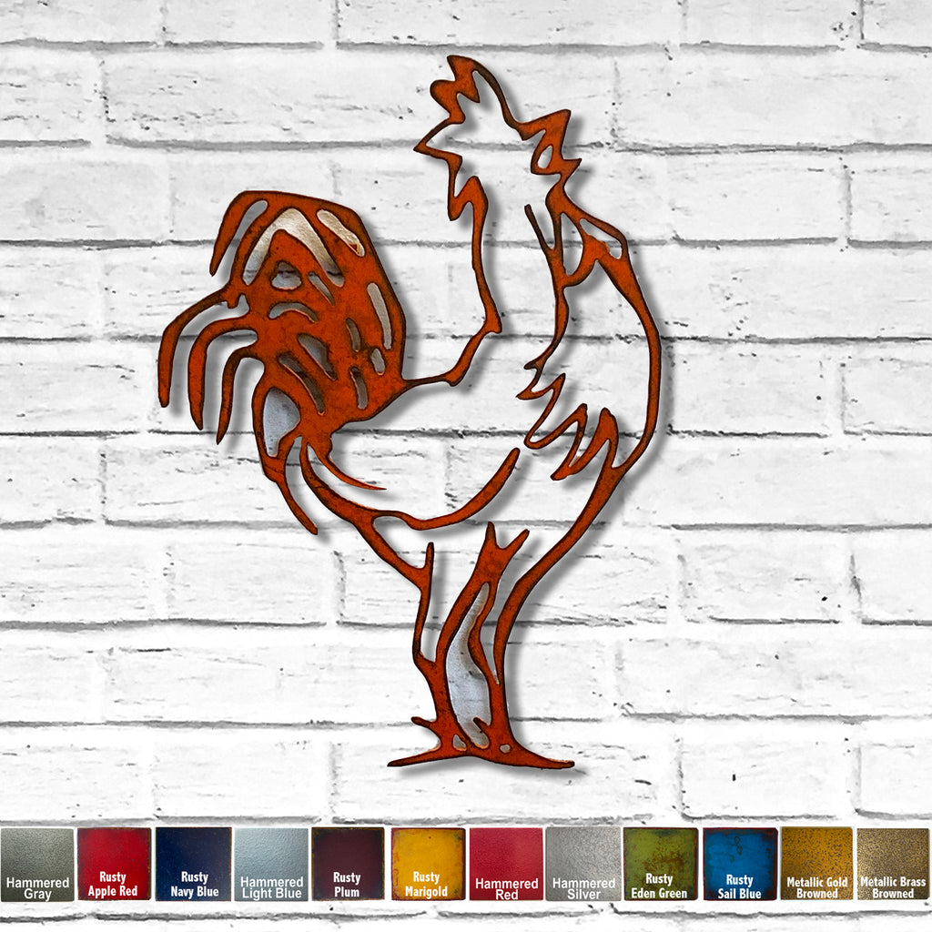 "Rooster Calling - Metal Wall Art Home Decor - Handmade in the USA - Choose 12"", 17"" or 23"" Tall, Choose your Patina Color! FREE SHIPPING"