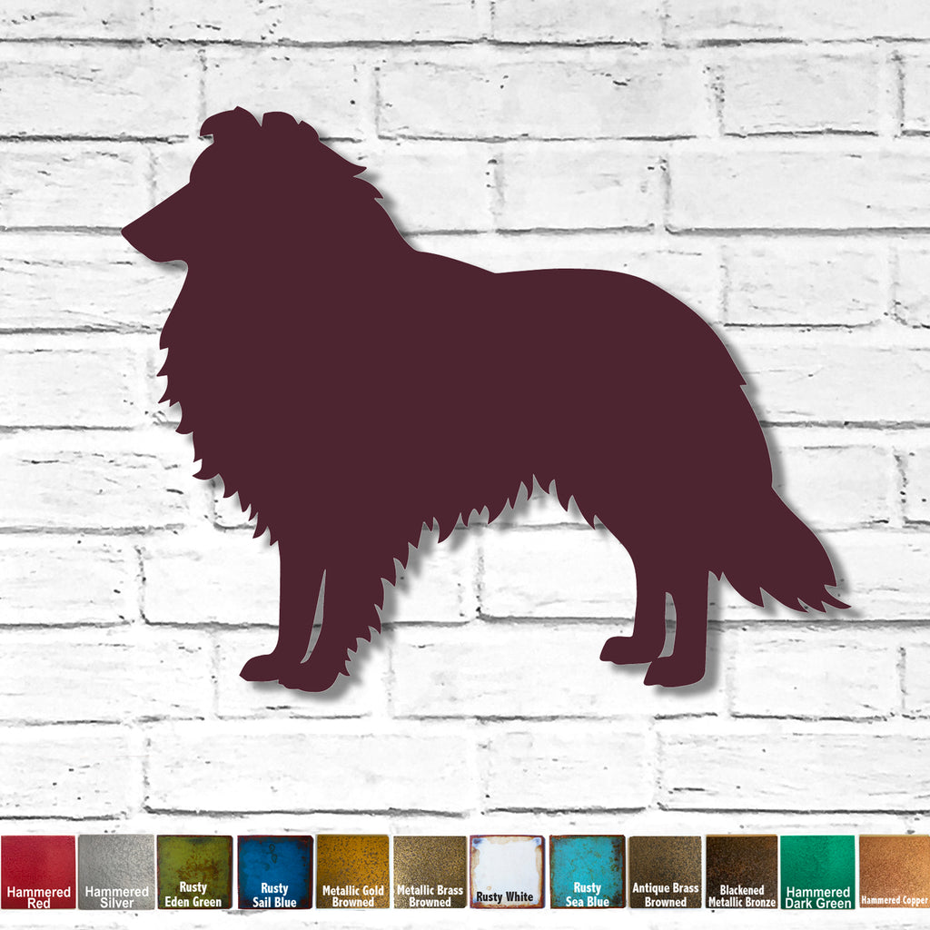"Rough Collie - Metal Wall Art Home Decor - Handmade in the USA - Choose 11"", 17"" or 23"" Wide - Choose your Patina Color - Free Ship"