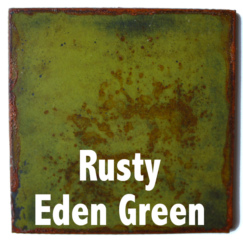 "Rusty Eden Green Sample piece - 3"" x 3"" Metal Art Color Swatch - Handmade in the USA - FREE SHIPPING"
