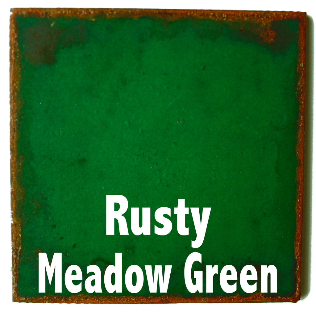 "Rusty Meadow Green Sample piece - 3"" x 3"" Metal Art Color Swatch - Handmade in the USA - FREE SHIPPING"