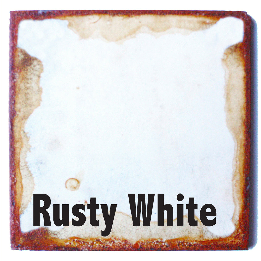 "Rusty White Metal Sample piece - 3"" x 3"" Metal Art Color Swatch - Handmade in the USA - FREE SHIPPING"