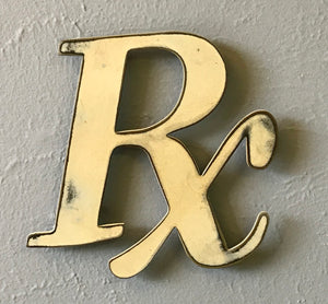 "Rx Pharmacy Symbol - Metal Wall Art Home Decor - Handmade in the USA - Choose 8"", 12"" or 24"" wide, Choose your Patina Color - Free Ship"