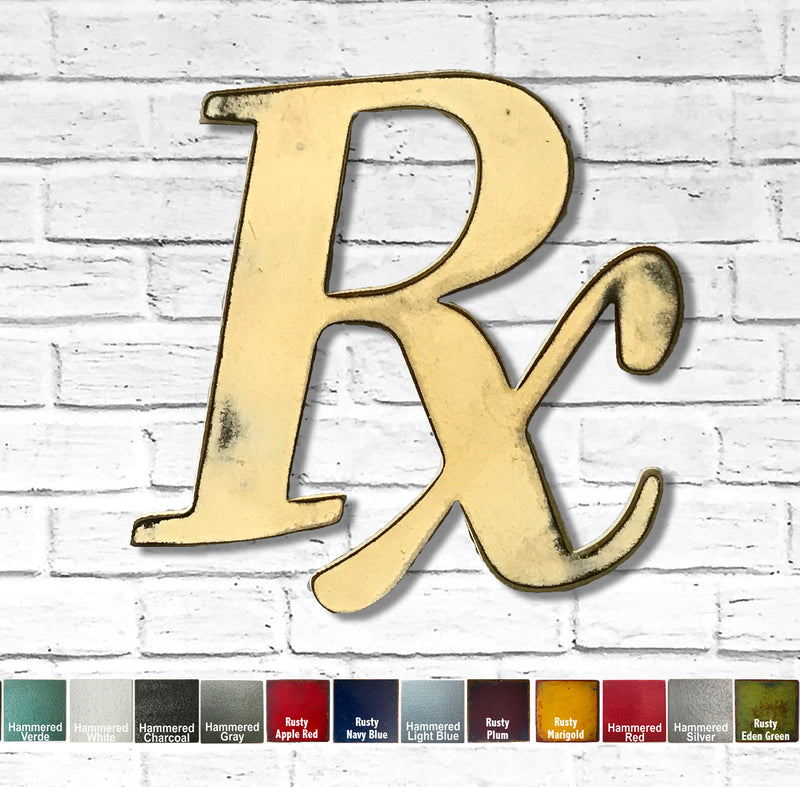 rx pharmacy drugs symbol metal wall art home decor cutout handmade by Functional Sculpture llc
