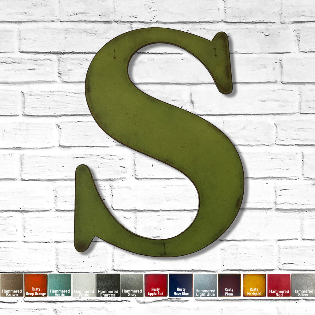 alphabet letter s metal wall art home decor cutout handmade by Functional Sculpture llc