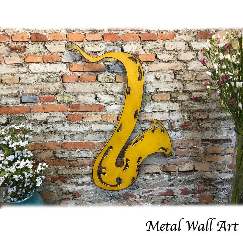 Saxophone shaped metal wall art home decor cutout handmade by Functional Sculpture llc