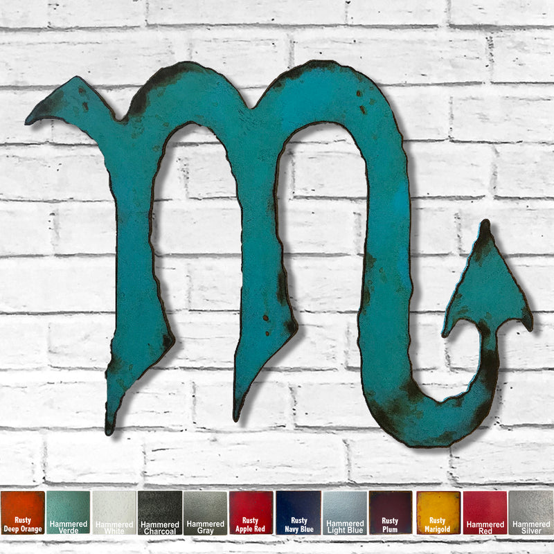 "Scorpio Zodiac Symbol - Metal Wall Art Home Decor - Made in the USA - Choose 11"", 17"" or 23"" Tall - Choose your Patina Color - Free Ship"