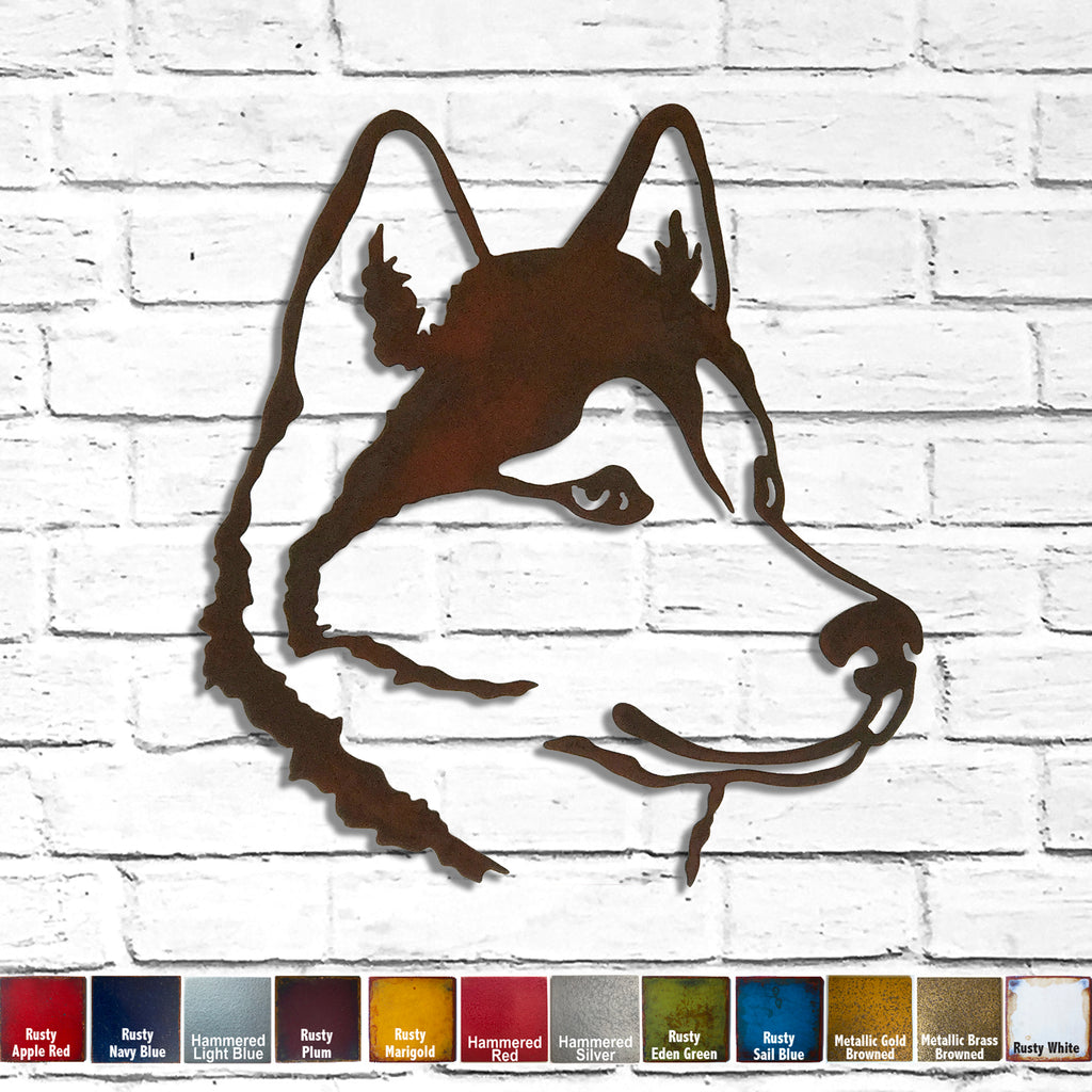 Siberian Husky dog bust metal wall art home decor cutout handmade by Functional Sculpture llc