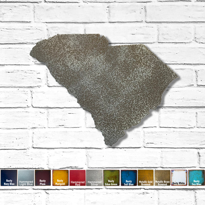 South Carolina map metal wall art home decor handmade by Functional Sculpture LLC