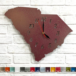 South Carolina clock metal wall art home decor cutout handmade by Functional Sculpture llc