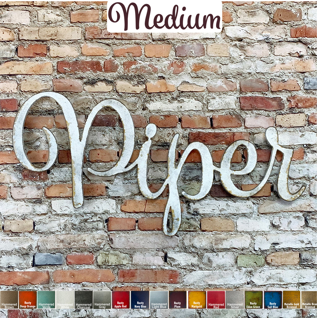 Custom Name or Word - Spumante Font - Medium Size - Metal Wall Art Home Decor - Choose your Patina Color - Free Ship