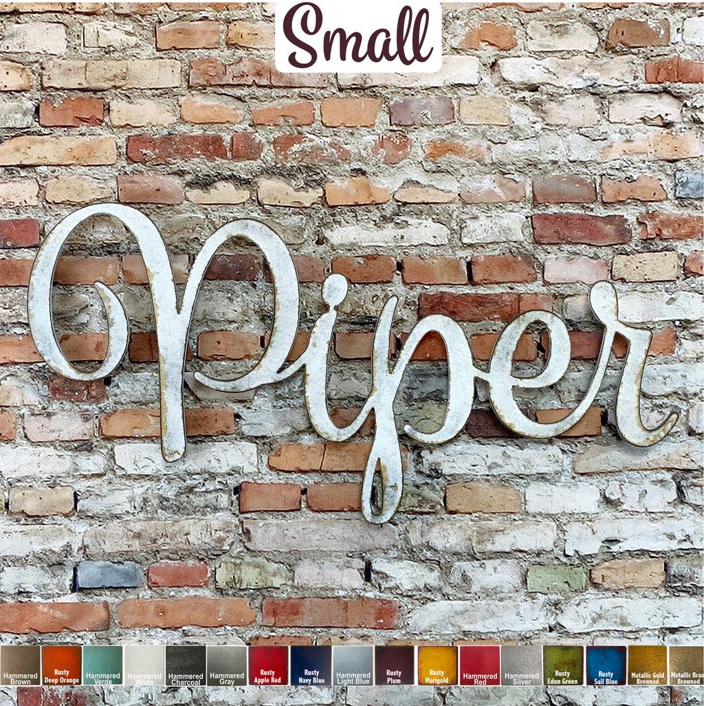Custom Name or Word - Spumante Font - Small Size - Metal Wall Art Home Decor - Choose your Patina Color - Free Ship