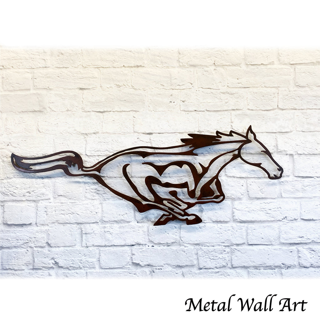 Mustang horse metal wall art home decor cutout handmade by Functional Sculpture llc