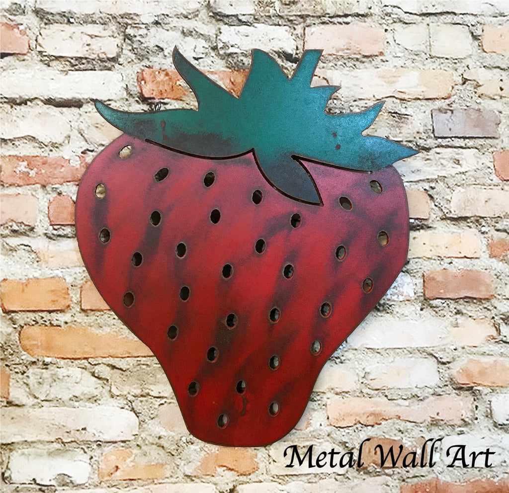 Strawberry fruit metal wall art home decor cutout handmade by Functional Sculpture llc