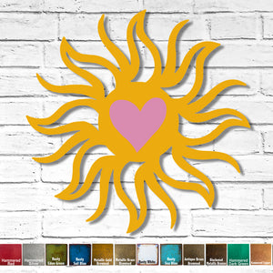 "Custom Order - 36"" Sun with Heart 3D - Finished in Rusty Light Pink and Rust Marigold - Metal Wall Art Home Decor"