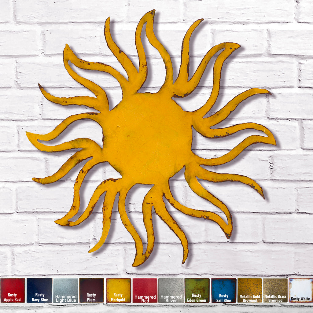 Sun planet symbol metal wall art home decor cutout handmade by Functional Sculpture llc