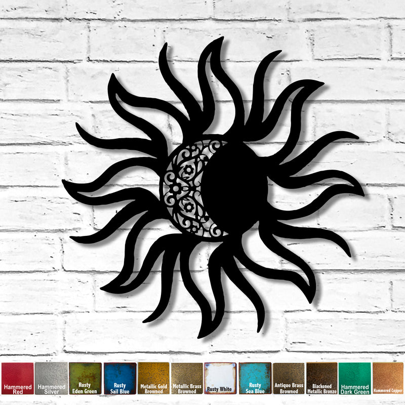 Sun with Moon Inset - Metal Wall Art Home Decor - Handmade in the USA - Choose 36