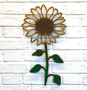"Sunflower - Metal Wall Art Home Decor - Handmade in the USA - Choose 17"" or 23"" Tall"