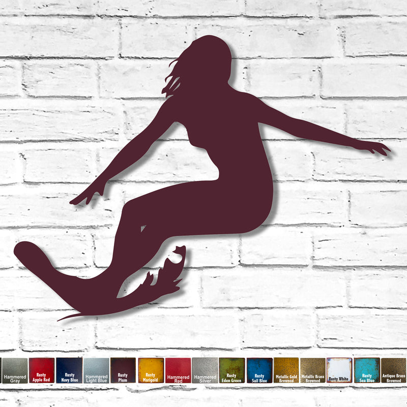 Female Surfer - Metal Wall Art Home Decor - Handmade in the USA - Choose 17