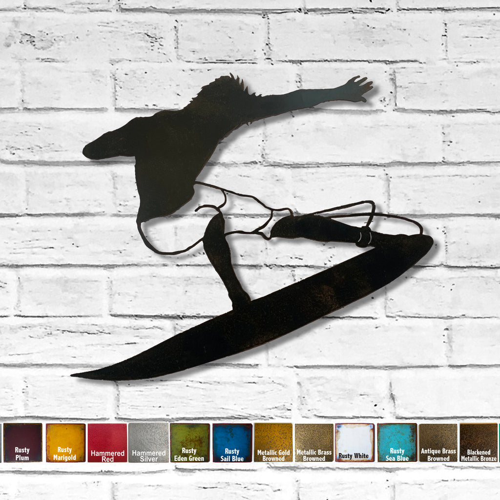 Surfer surfing metal wall art home decor cutout handmade by Functional Sculpture llc