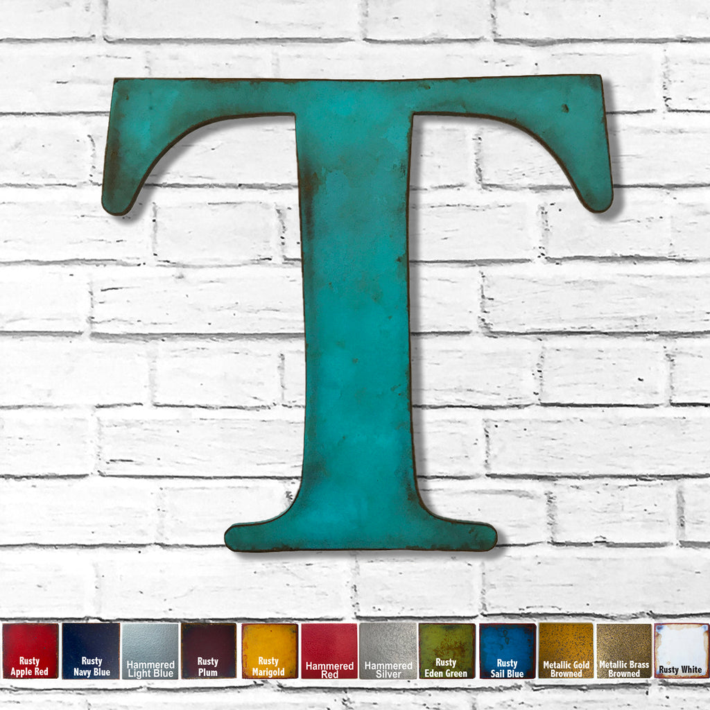 "Letter T - Metal Wall Art Home Decor - Made in the USA - Choose 10"", 12"" or 16"" Tall - Choose your Patina Color! Choose any letter FREE SHIPPING"