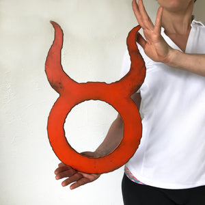 "Taurus Zodiac Symbol - Metal Wall Art Home Decor - Made in the USA - Choose 11"", 17"" or 23"" Tall - Choose your Patina Color! FREE SHIPPING"