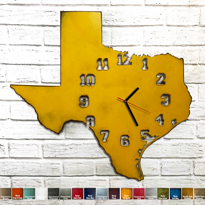 Texas Metal Wall Art Clock - Collegiate Numbers - Home Decor - Handmade in the USA - Choose 17