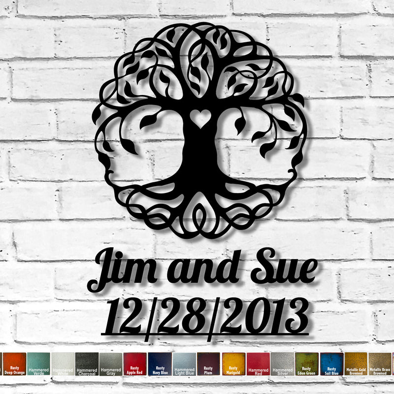 Custom Order - Tree of Life with Text Jim and Sue 12/28/2013 - Metal Wall Art Home Decor - Choose your Patina Color - FREE SHIPPING