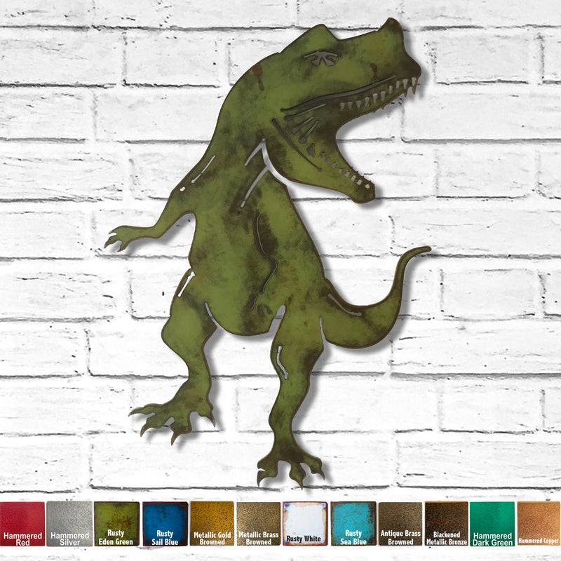 "Tyrannosaurus Rex Metal Wall Art - TRex Dinosaur - Home Decor - Handmade in the USA - Choose 17"" or 23"" Tall, Choose your Patina Color - Free Ship"