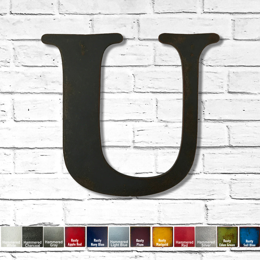 "Letter U - Metal Wall Art Home Decor - Made in the USA - Choose 10"", 12"" or 16"" Tall - Choose your Patina Color! Choose any letter FREE SHIPPING"