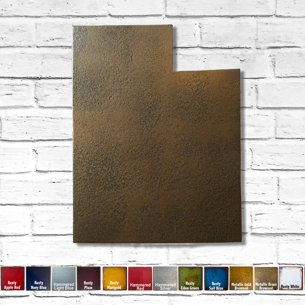 "Utah - Metal Wall Art Home Decor - Handmade in the USA - Choose 10"", 16"" or 22"" Tall - Choose your Patina Color! Choose any state - FREE SHIP"