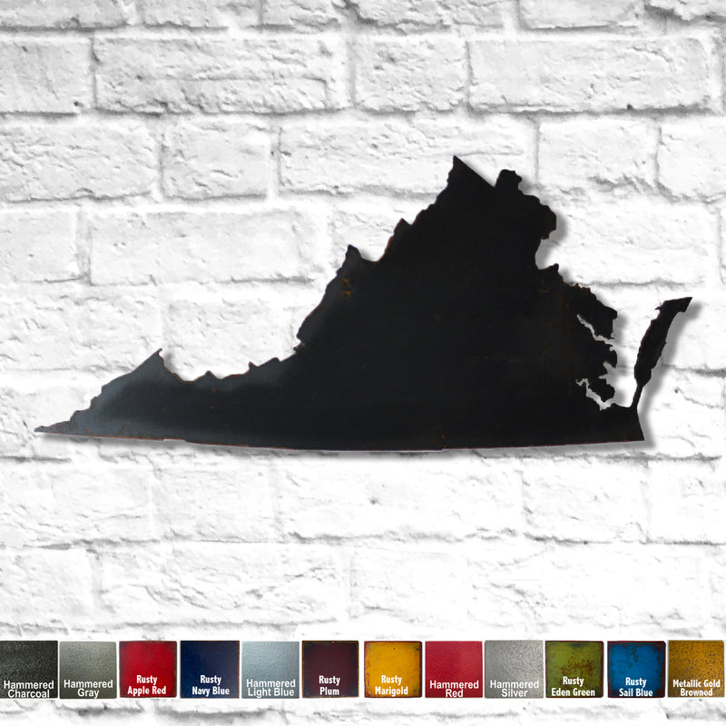 Virginia map metal wall art home decor handmade by Functional Sculpture LLC
