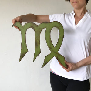 "Virgo Zodiac Symbol - Metal Wall Art Home Decor - Made in the USA - Choose 11"", 17"" or 23"" Wide - Choose your Patina Color! FREE SHIPPING"