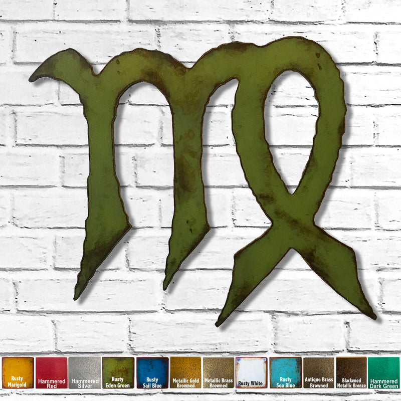 "Virgo Zodiac Symbol - Metal Wall Art Home Decor - Made in the USA - Choose 11"", 17"" or 23"" Wide - Choose your Patina Color - Free Ship"