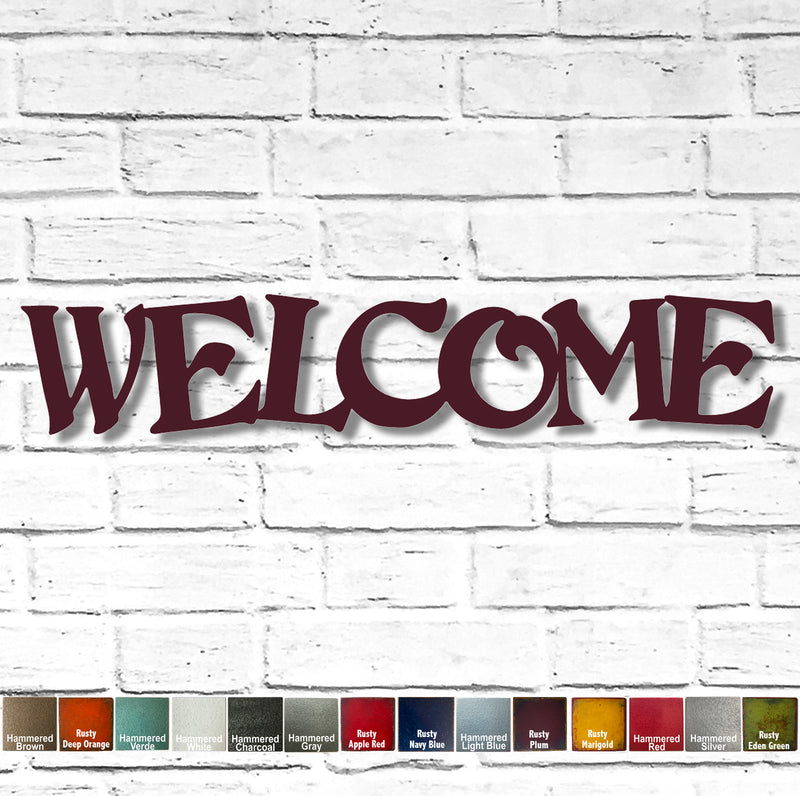 WELCOME sign - Horizontal - Metal Wall Art Home Decor - Handmade in the USA - Choose 24