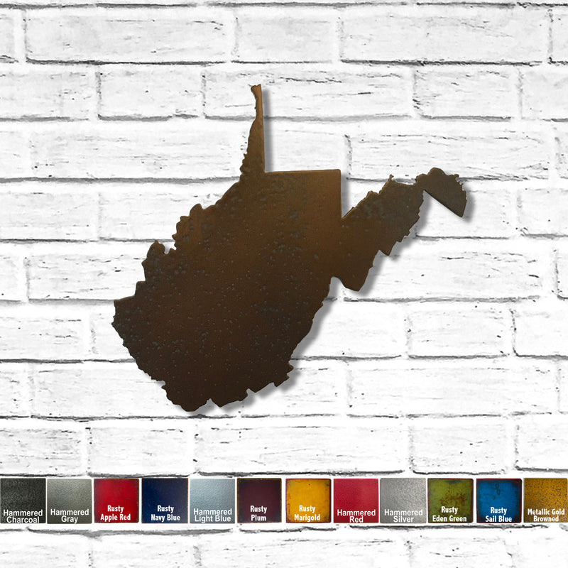 "West Virginia - Metal Wall Art Home Decor - Handmade in the USA - Choose 11"", 17"" or 23"" Wide - Choose your Patina Color! Choose any State Free Ship"