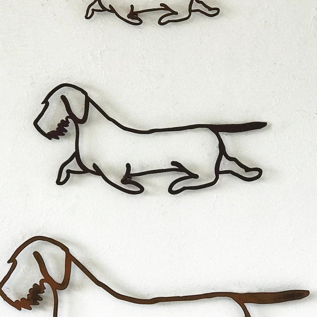 Wire haired Dachshund dog shaped metal wall art home decor cutout handmade by Functional Sculpture llc