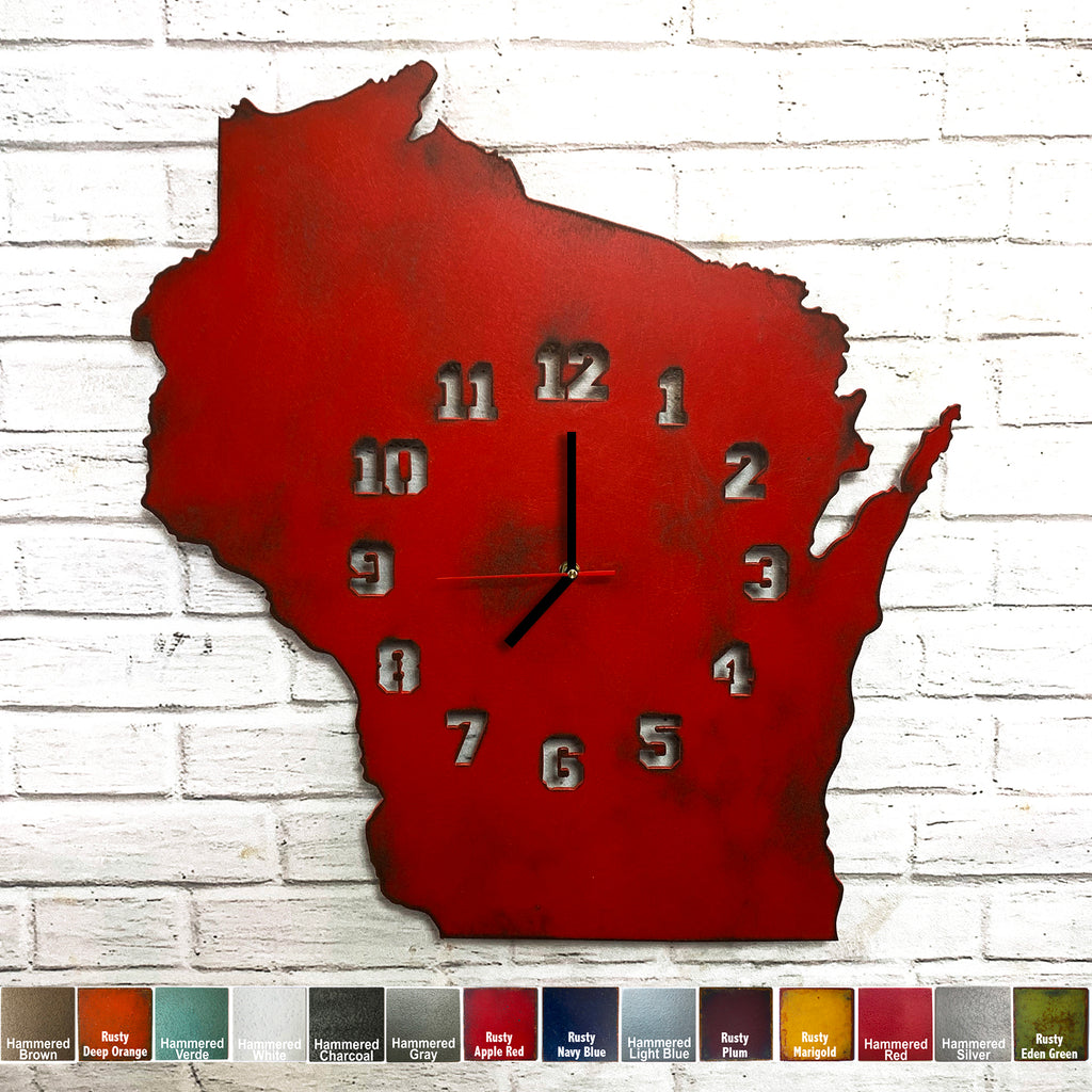 "Wisconsin Metal Wall Art Clock - Collegiate Numbers - Home Decor - Handmade in the USA - Choose 16"" or 23"" tall, Choose Patina Color! FREE SHIPPING"