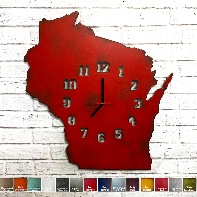 Wisconsin Metal Wall Art Clock - Collegiate Numbers - Home Decor - Handmade in the USA - Choose 16