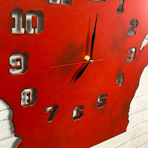 "Wisconsin Metal Wall Art Clock - Collegiate Numbers - Home Decor - Handmade in the USA - Choose 16"" or 23"" tall, Choose Patina Color - Free Ship"