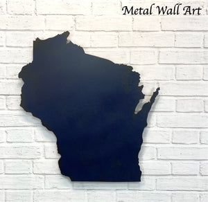 "Wisconsin - Metal Wall Art Home Decor - Made in the USA - Choose 11"", 17"" or 23"" Tall - Choose your Patina Color - Choose any state - Free Ship"