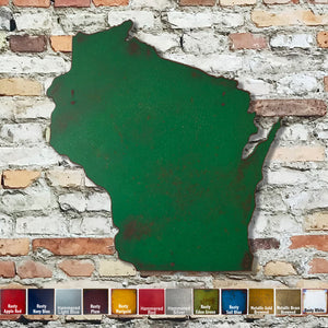 Wisconsin map metal wall art home decor handmade by Functional Sculpture LLC