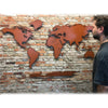 "World Map ""with"" Antarctica - Metal Wall Art Home Decor - Handmade in the USA - Choose 50"", 60"" or 72"" Wide - Choose your Patina Color! FREE SHIPPING"