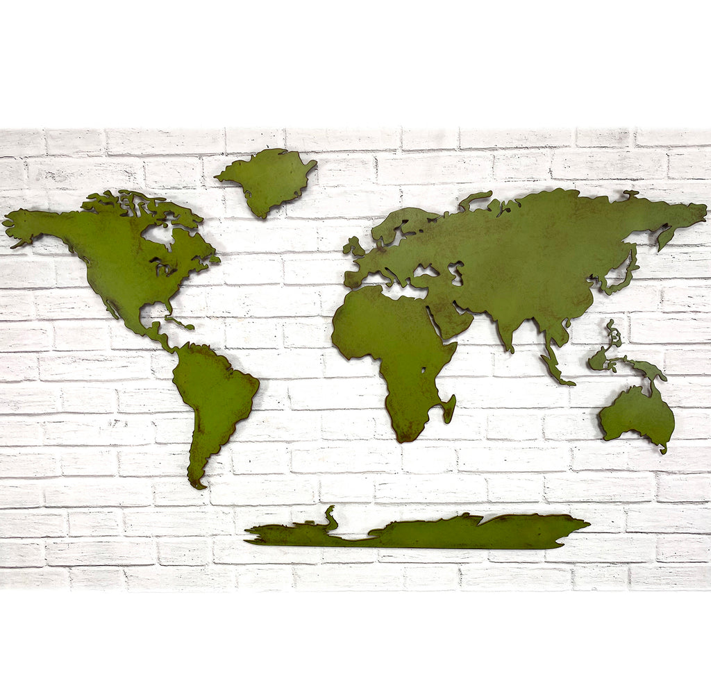 World map metal wall art home decor handmade by Functional Sculpture LLC