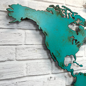 "World Map ""NO"" Antarctica - Metal Wall Art Home Decor - Handmade in the USA - Choose 50"", 60"" or 72"" Wide - Choose your Patina Color! FREE SHIPPING"
