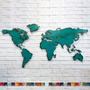 World map without Antarctica metal wall art home decor handmade by Functional Sculpture LLC